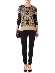 Biba Jaquard logo and stripe button back jumper