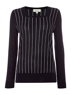 Panel detail square neck pinstripe jumper