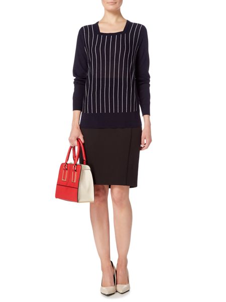 Linea Panel detail square neck pinstripe jumper