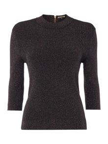 Biba Metallic short sleeve turtle neck jumper