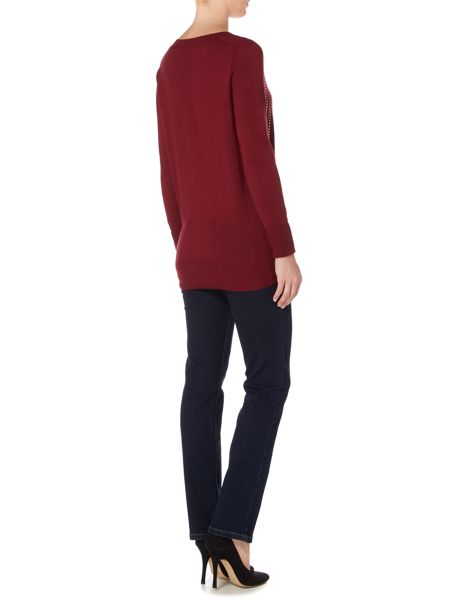 Biba Studded art deco v neck jumper