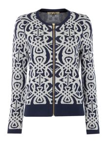 Biba Logo jacquard zip up knit jumper