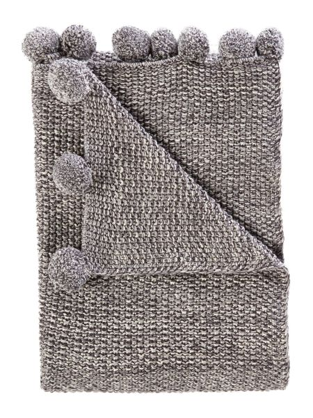 Linea Pom pom throw, grey
