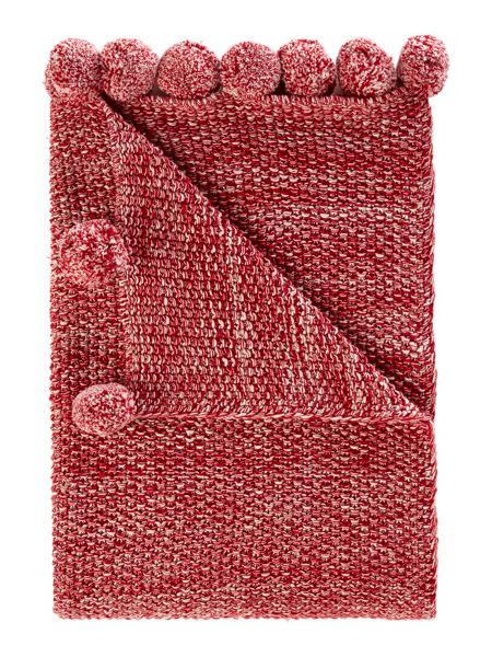 Linea Pom pom throw, red