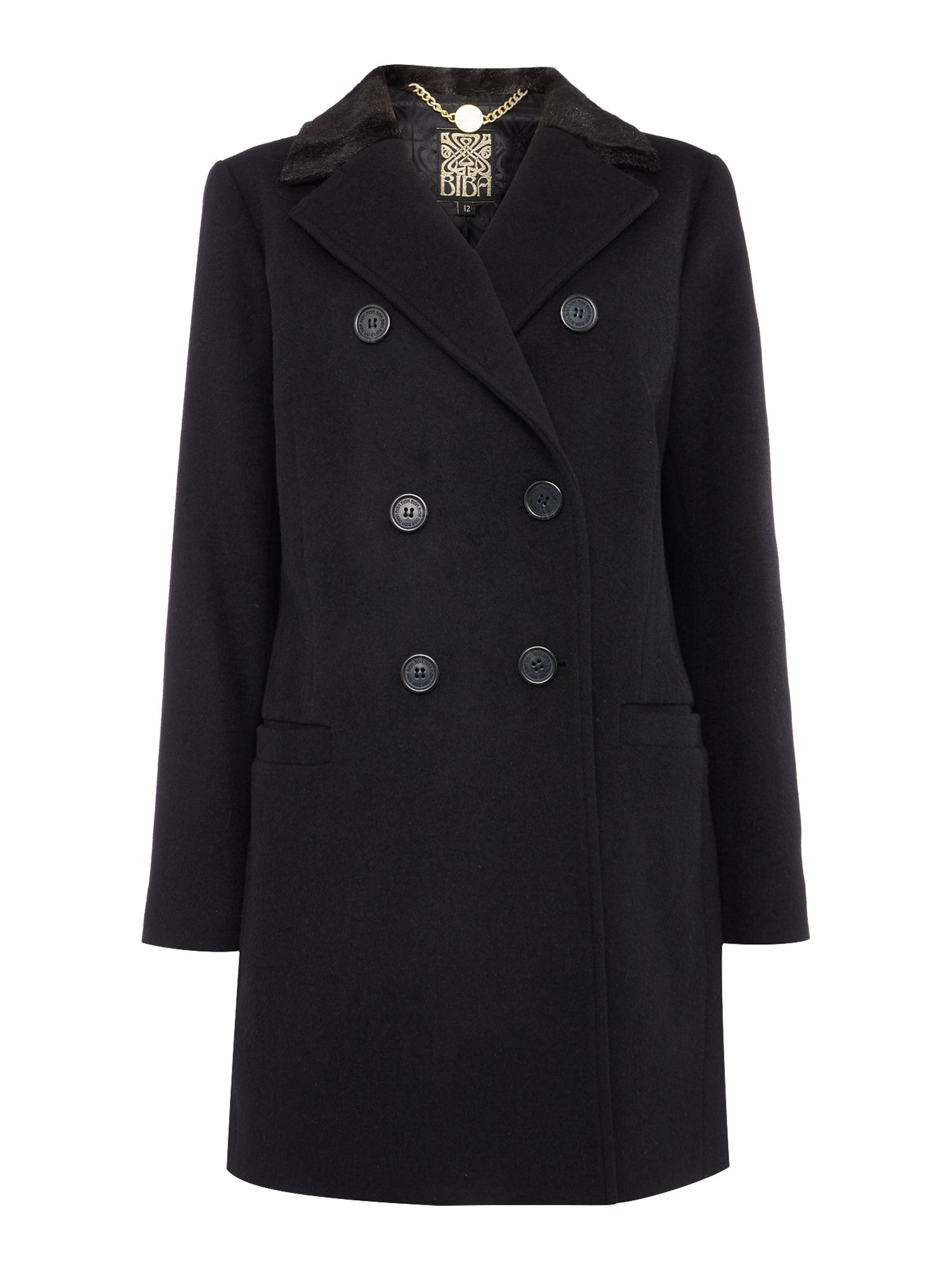 Biba Faux fur collar wool mix coat, Black