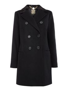 Biba Faux fur collar wool mix coat