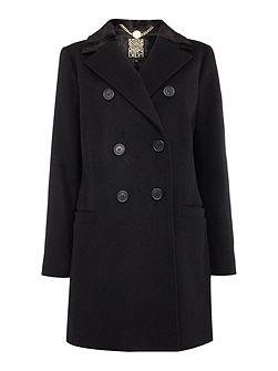 Faux fur collar wool mix coat