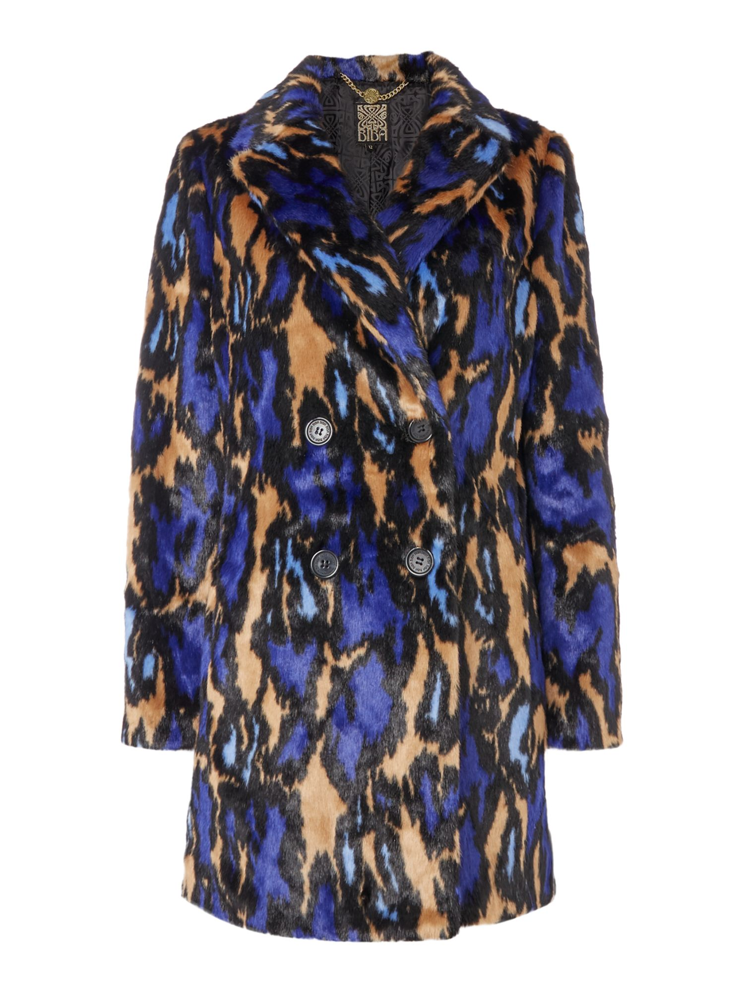 Biba Leopard abstract 60s style faux fur coat, Multi-Coloured