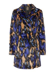 Biba Leopard abstract 60s style fur coat
