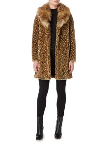 Biba Detachable faux fur collar leopard coat