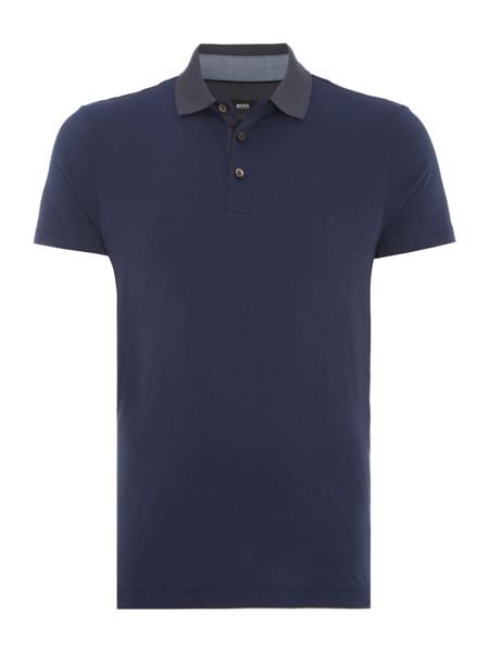 Hugo Boss Place slim fit contast collar short sleeve polo