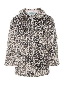 Little Dickins & Jones Girls Leopard print fur coat