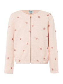 Little Dickins & Jones Girls Star Print Zip Up Bomber
