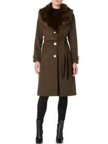 Biba Detachable faux fur collar wool mix belted coat