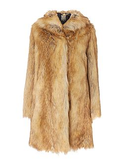 Faux fur fox style luxe coat