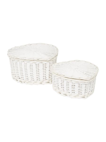 Linea Heart shaped wicker set of 2 baskets