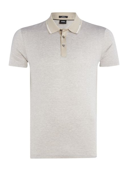 Hugo Boss Pittom slim fit mercerised micro pattern polo