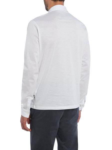 Hugo Boss Pickell textured button down long sleeve polo