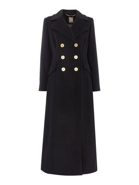 Biba Military style longline wool mix coat