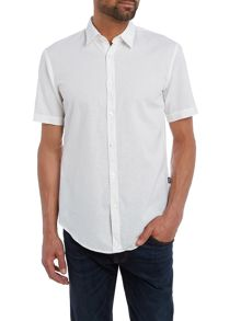 Hugo Boss Ronn slim fit cotton linen short sleeve shirt