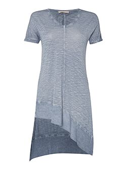 Rib mix jersey tunic with side splits