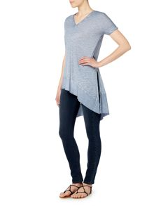 Label Lab Rib mix jersey tunic with side splits