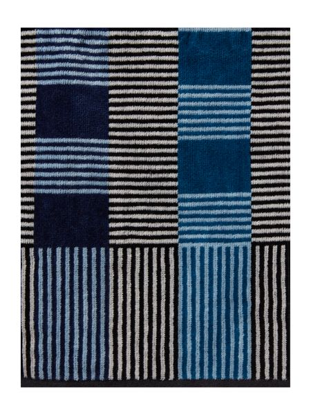 Linea Fragmented stripe blue hand towel