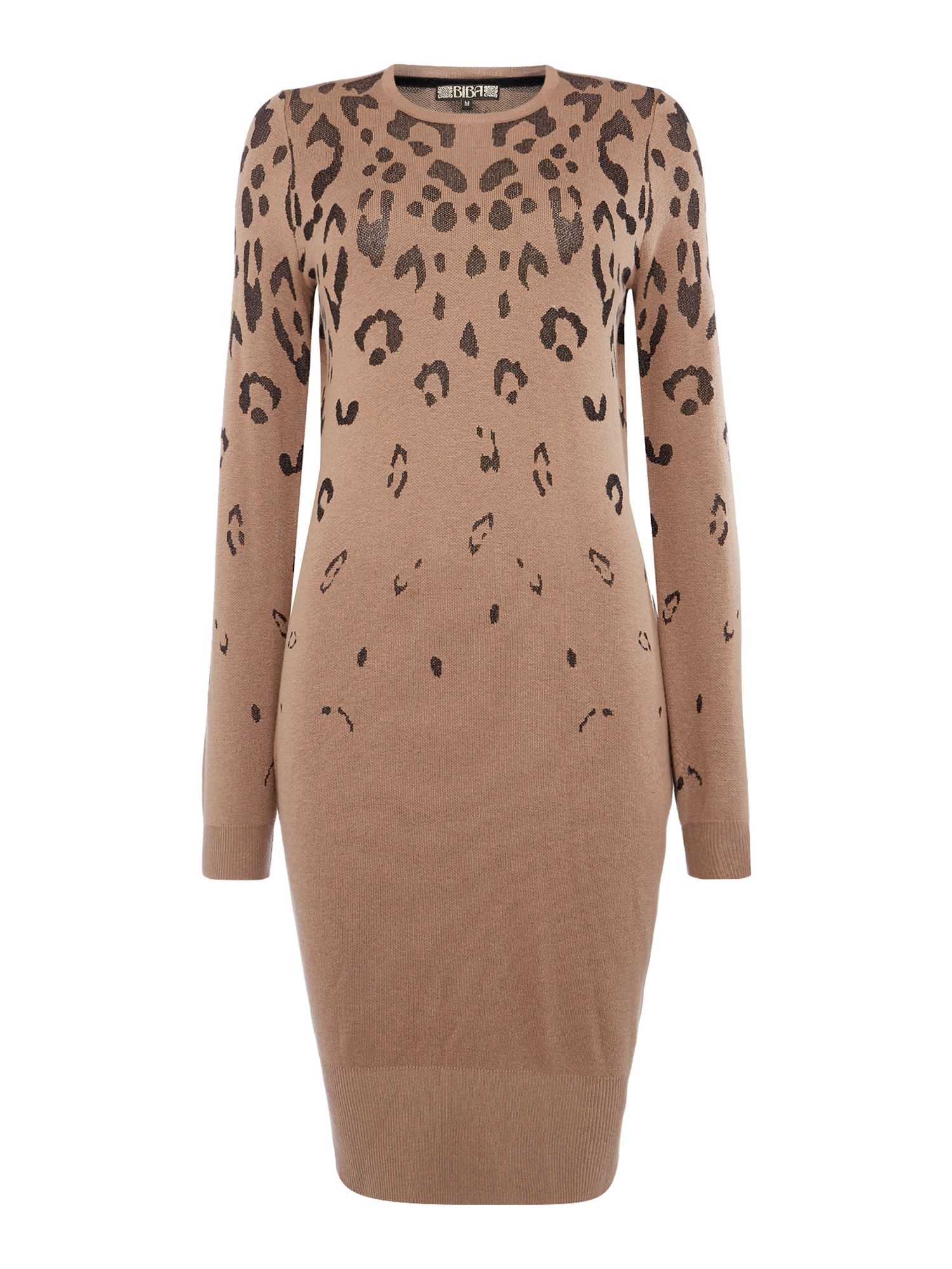 Biba Leopard metallic jumper dress, Taupe