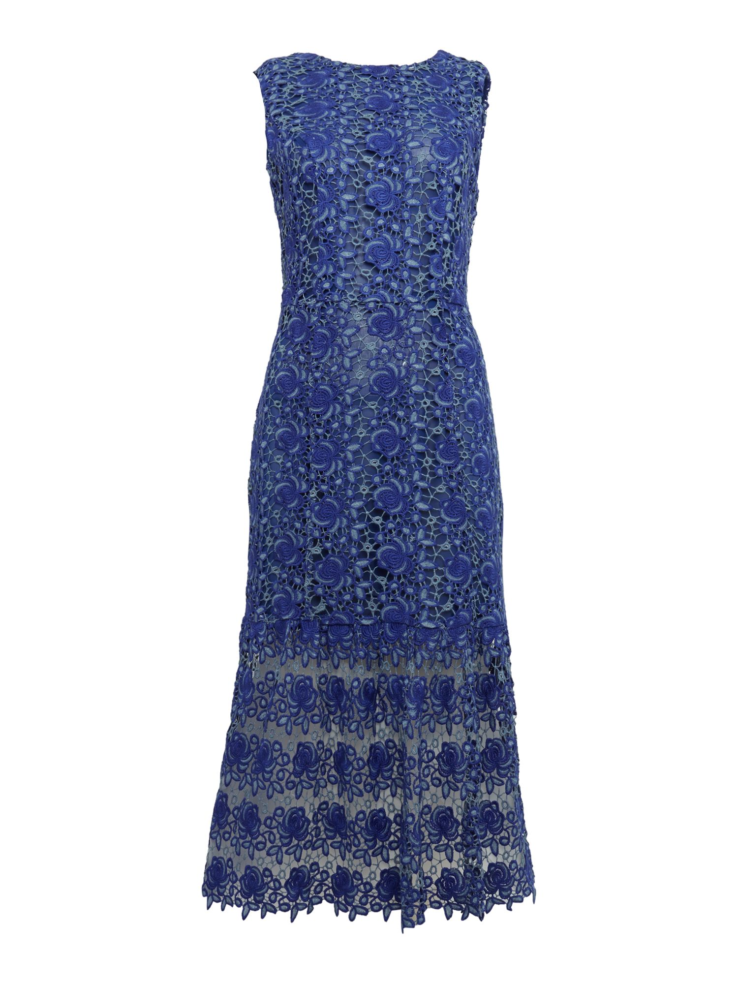 Lost Ink Sleeveless Drop Hem Crochet Lace Tunic Dress, Blue