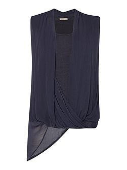 Asymmetric sleeveless top