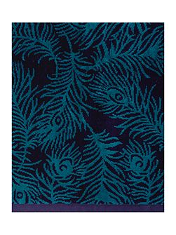 Peacock velour teal hand towel