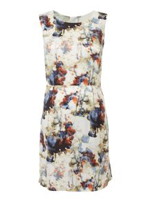 Hugo Boss Ameschy sleeveless printed silk mix dress