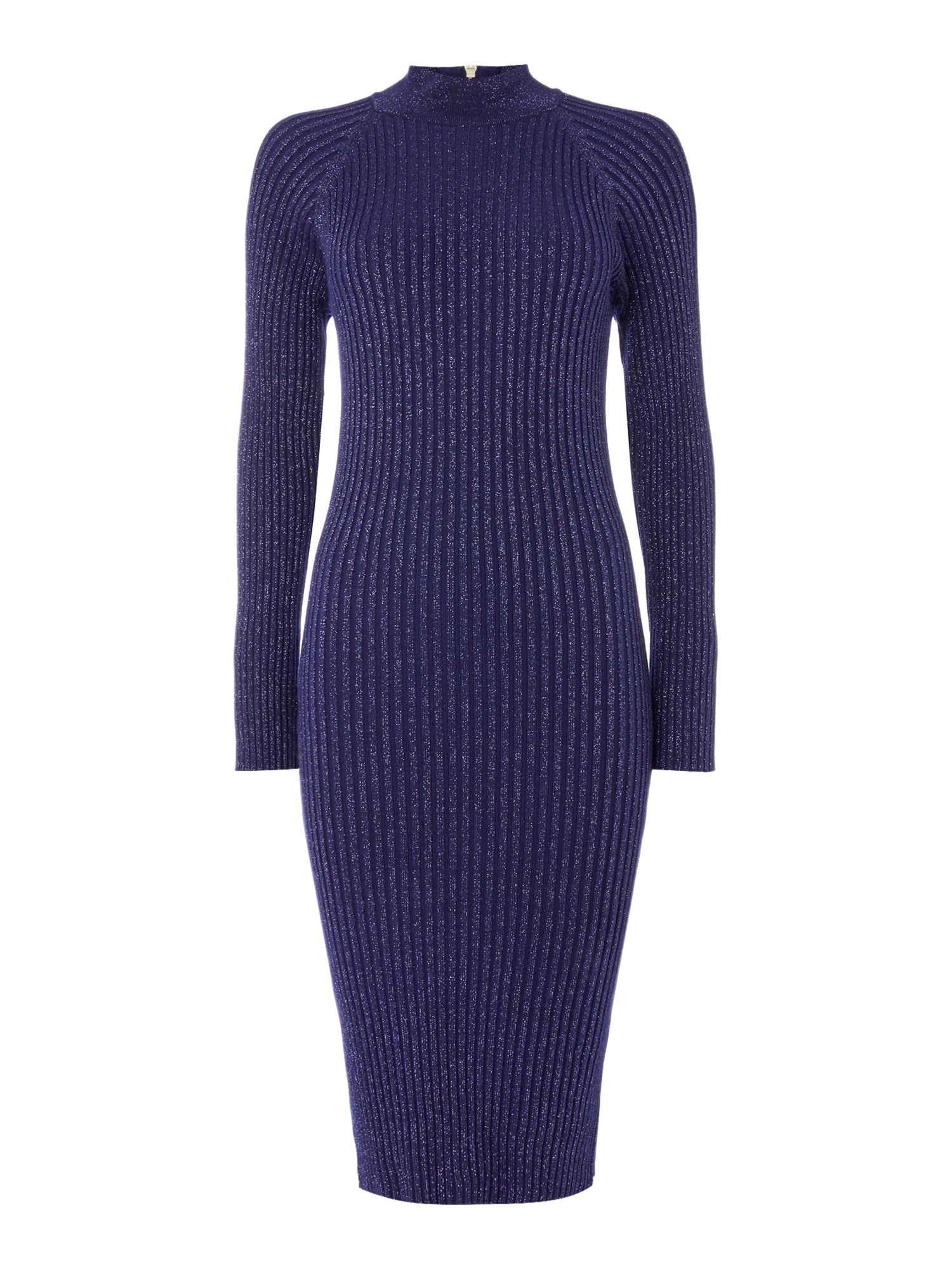 Biba Roll neck zip back rib knitted dress Navy