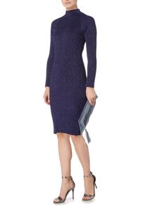 Biba Roll neck zip back rib knitted dress