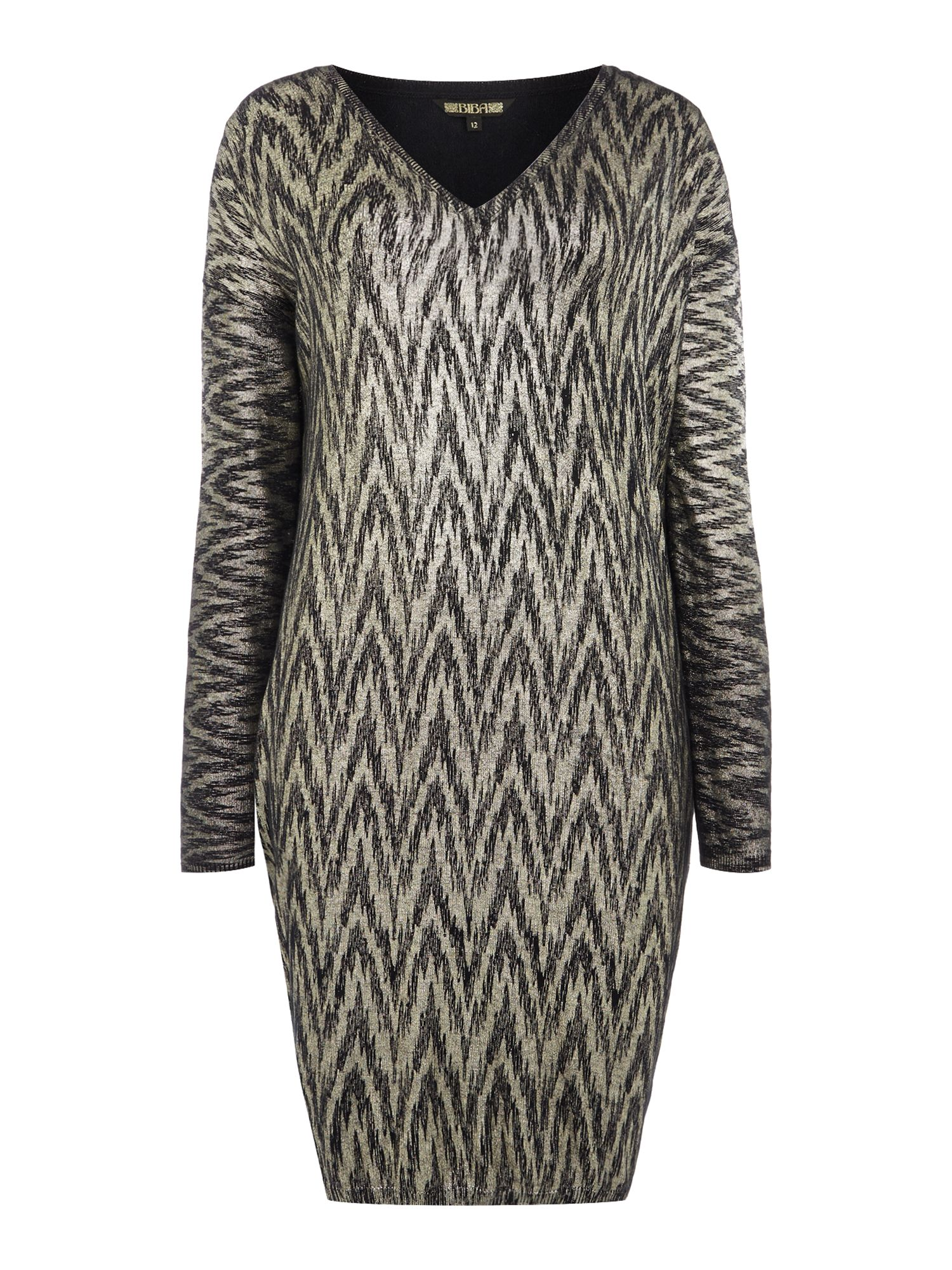 Biba Metallic printed v-neck jumper dress, Multi-Coloured