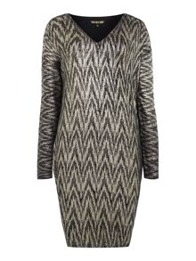 Biba Metallic printed v-neck jumper dress