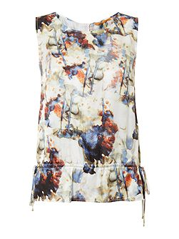 Faflower sleeveless printed silk mix top