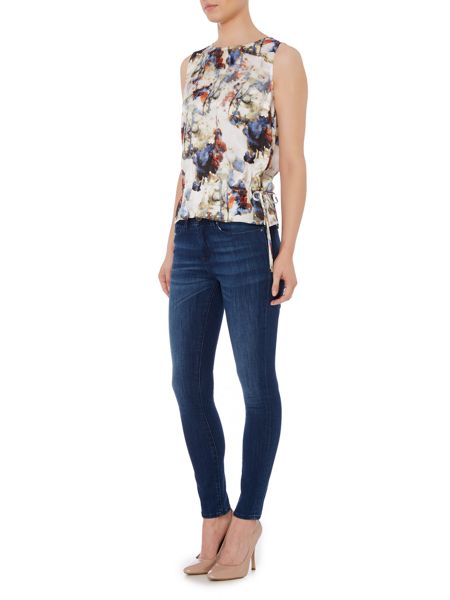 Hugo Boss Faflower sleeveless printed silk mix top