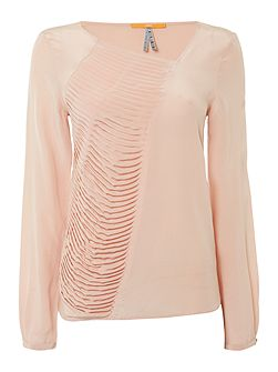 Concerts long sleeve ruffle panel silk top