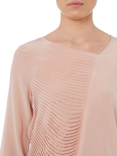 Hugo Boss Concerts long sleeve ruffle panel silk top