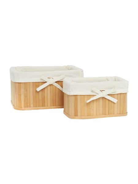 Linea Bamboo natural set of 2 small storage