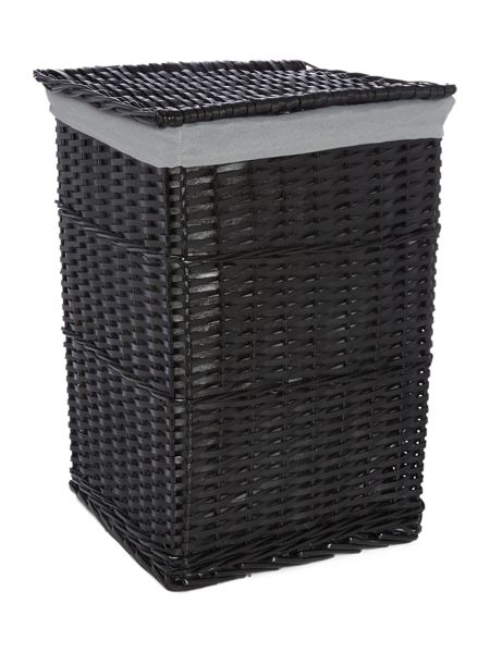 Linea Black wood laundry bin