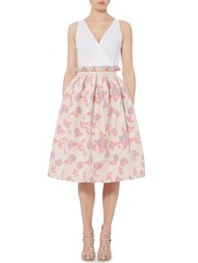 Lost Ink Midi Printed Rose Skirt