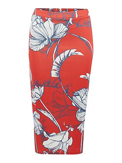 Large Floral Jersey Pencil Skirt