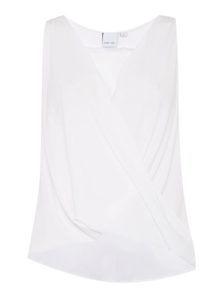 Lost Ink Sleeveless Sheer Panel Shell Top