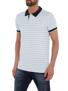 Lindbergh Striped pique polo
