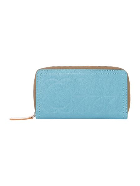 Orla Kiely Stem embossed blue large ziparound purse
