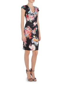 Jessica Wright Sleeveless Wrap Bodycon V Neck Dress