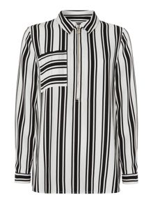 Therapy IVY STRIPE ZIP FRONT SHIRT