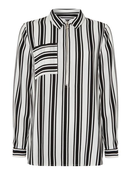 Therapy Ivy Stripe Zip Front Stripe Shirt